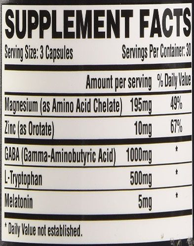 Hibern8 Ingredients Label
