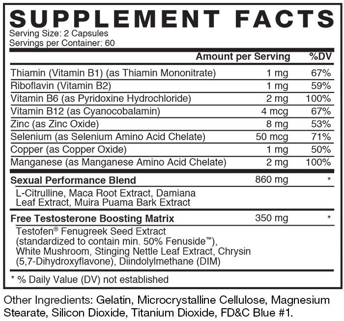 Test X 180 Alpha Ingredients Label