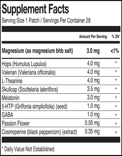 ZPatch Sleep Aid Ingrediets Label