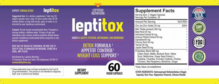Leptitox Ingredient Labels