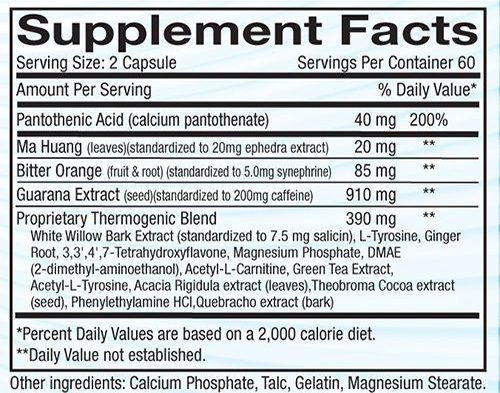 Superdrine RX-10 Ingredients Label