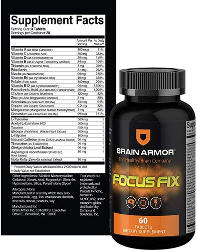 Brain Armor Focus Fix Ingredients Label