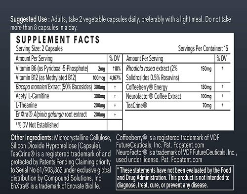 Tempo F Coffee Ingredients Label